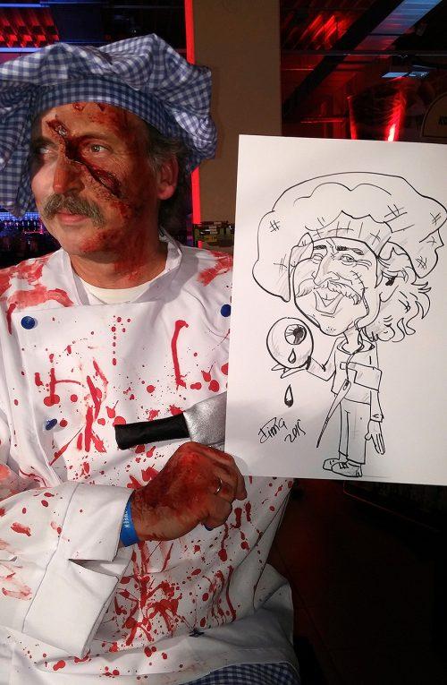 Live Karikatur auf A3 Format mit Motiv, Edeka Event